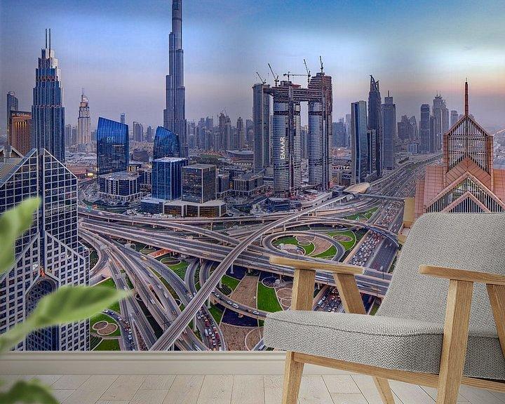 Sfeerimpressie behang: Snelwegkruising Dubai van Rene Siebring