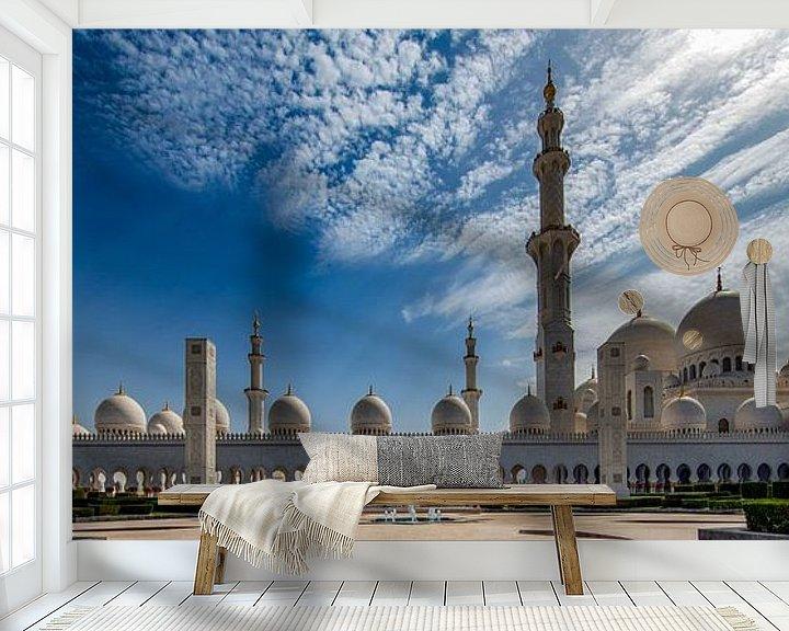 Sfeerimpressie behang: Fontein voor Sheikh Zayed Mosque in Abu Dhabi van Rene Siebring