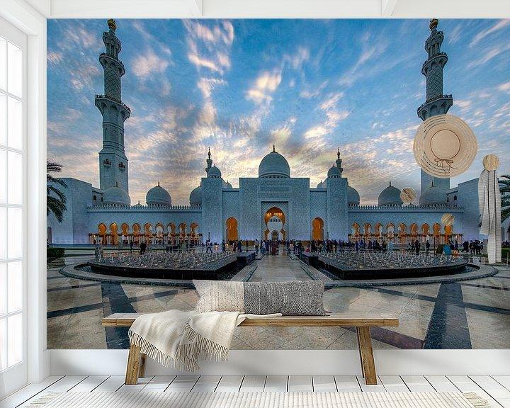Sfeerimpressie behang: Sheikh Zayed Mosque bij zonsondergang van Rene Siebring