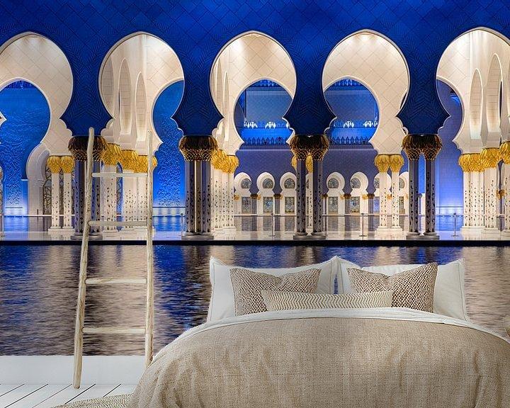 Sfeerimpressie behang: De bogen van de Sheikh Zayed-moskee in Abu Dhabi van Rene Siebring