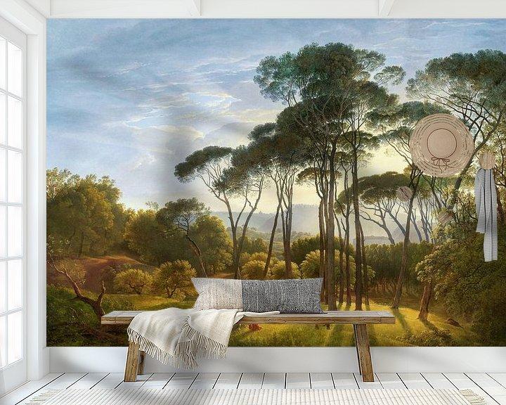 Sfeerimpressie behang: Italiaans landschap met parasoldennen, Hendrik Voogd, digitaal gerestaureerd van Lars van de Goor