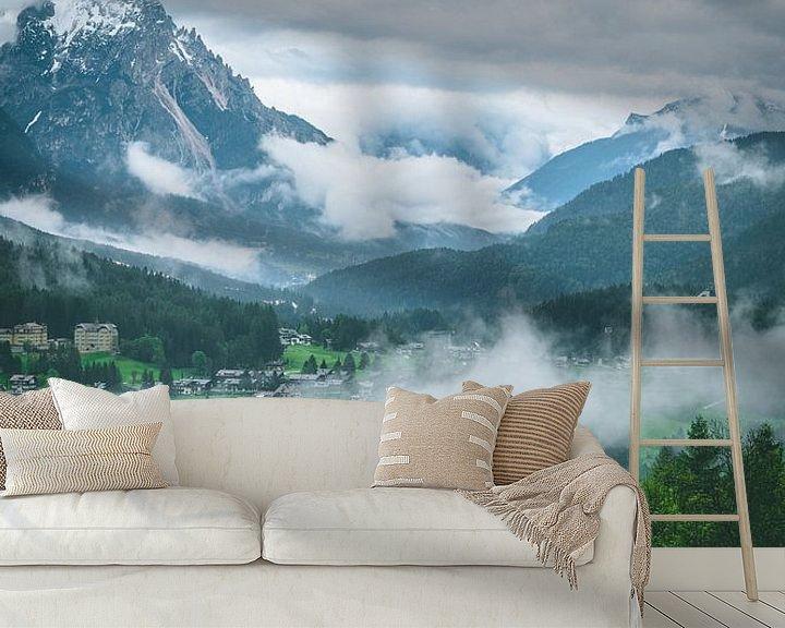 Sfeerimpressie behang: Misty valley in the Dolomites van michael regeer