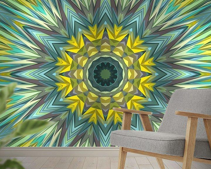 Sfeerimpressie behang: Mandala-stijl 3 van Marion Tenbergen