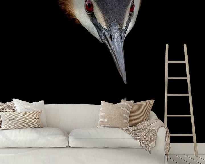 Sfeerimpressie behang: Fuut  Spiegelbeeld van richard evers