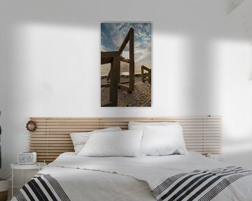 houten constructie met zonsondergang