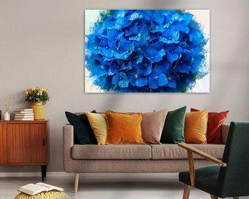 Blaue Hortensien aus dem Garten (Mischtechnik) von Art by Jeronimo