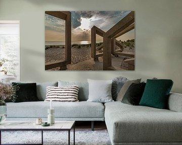 zonsondergang gezien door houten kunstwerk von Compuinfoto .