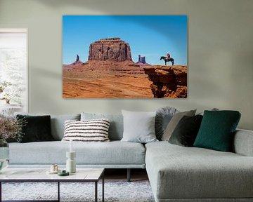 Cowboy in Monument Valley van Gerard Van Delft