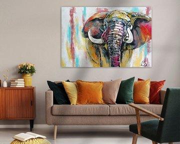 Elefant von Vrolijk Schilderij