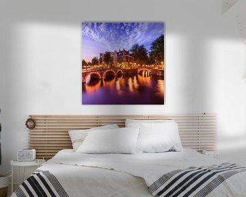 AMSTERDAM ' s avonds idylle van de Keizersgracht en de Leidsegracht van Melanie Viola