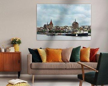 View to the city Rostock, Germany van Rico Ködder