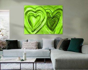 Zwei Herzen vereint - grün von Katrin Behr