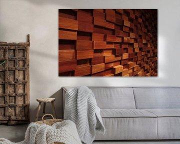 Abstracte houten wanddecoratie
