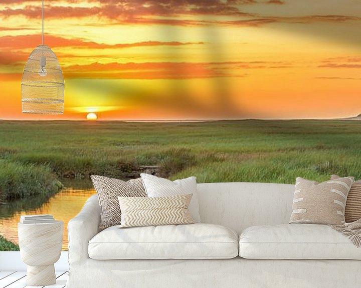 Sfeerimpressie behang: Panorama zonsondergang op Texel / Panoramic photo Texel sunset van Justin Sinner Pictures ( Fotograaf op Texel)