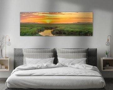 Panorama zonsondergang op Texel / Panoramic photo Texel sunset