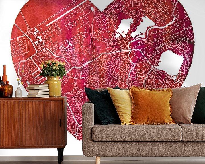 Sfeerimpressie behang: Rotterdam Noord | Stadskaart in een hart van Wereldkaarten.Shop