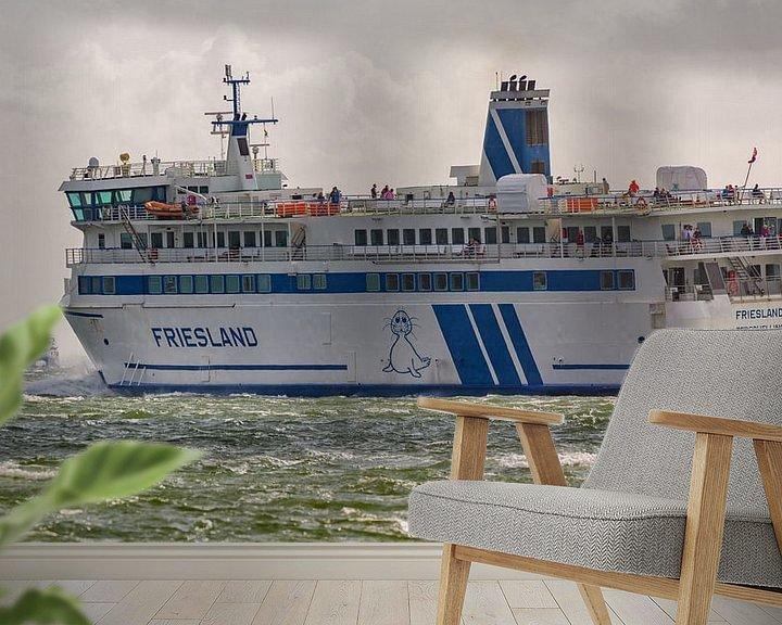 Sfeerimpressie behang: Veerboot Frieslan en snelboot Tiger van Roel Ovinge