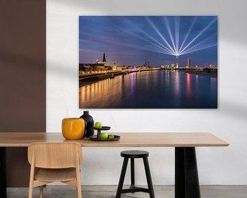 Düsseldorf Panorama mit Rheinkomet® von Michael Valjak
