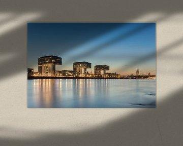 Kölner Skyline mit Kranhäusern und Dom von Michael Valjak