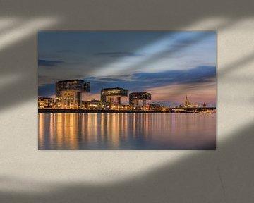 Kranhäuser in Köln am Abend von Michael Valjak