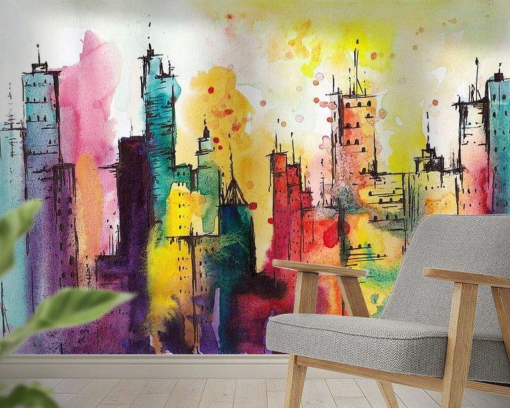 Sfeerimpressie behang: Rainbow City van Maria Kitano