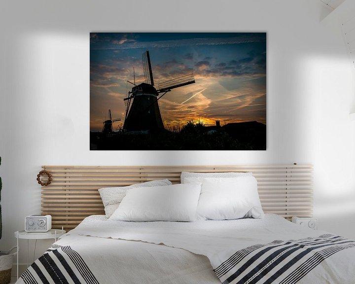 Sfeerimpressie: Nederlandse molens in het avondlicht van Eus Driessen
