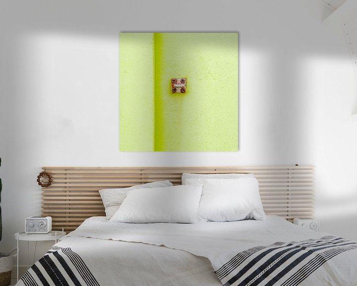 Sfeerimpressie: Abstract van pastel groen op een roestig paneel van Texel eXperience