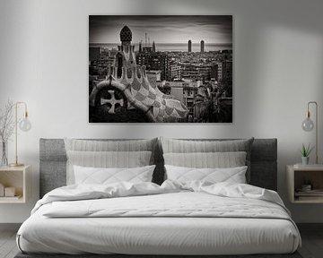 Barcelona Skyline (Schwarzweiss) von Alexander Voss