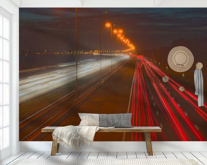 Sfeerimpressie behang: White yellow and red lines van Arthur Wijnen