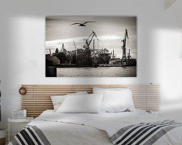 Hamburger Hafen (Schwarzweiss) von Alexander Voss