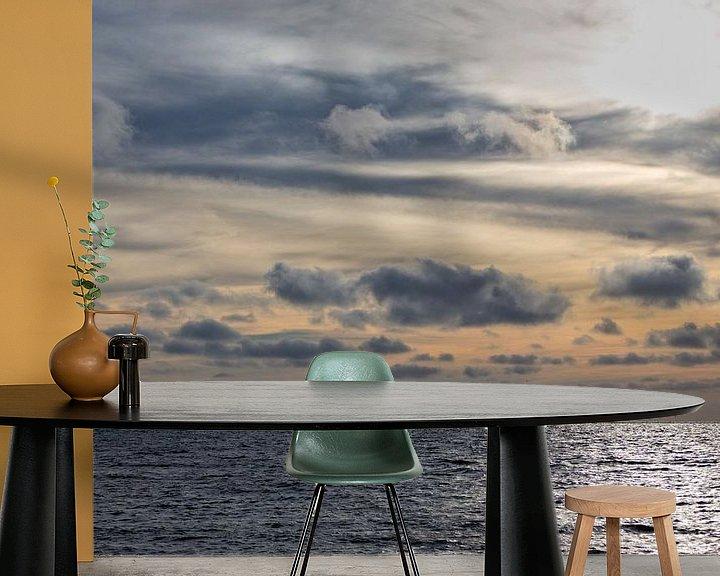 Sfeerimpressie behang: De Noordzee bij zonsondergang van Miranda van Hulst