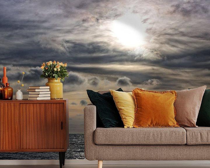Sfeerimpressie behang: Zonsondergang Noordzee van Miranda van Hulst