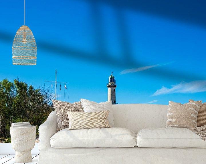 Beispiel fototapete: Blick auf den Leuchtturm und Teepott in Warnemünde von Rico Ködder
