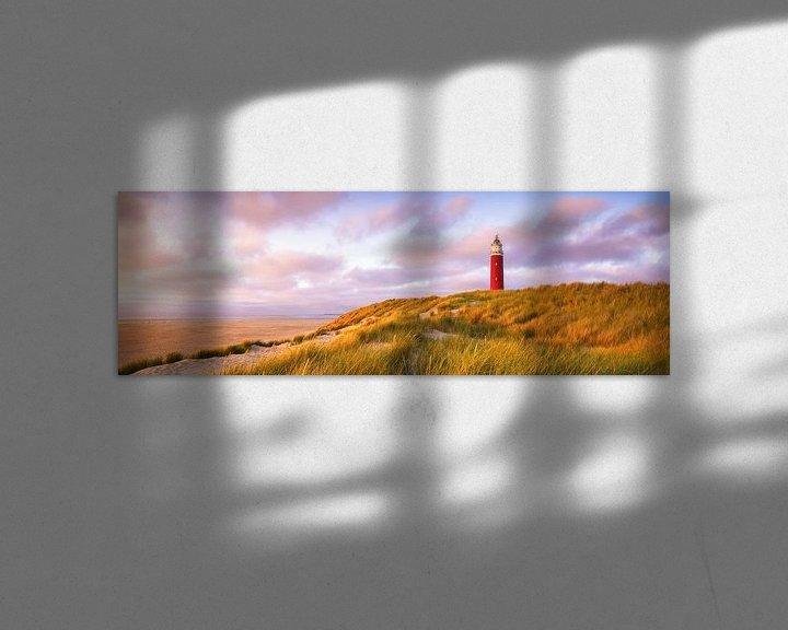 Sfeerimpressie: Zonsondergang vuurtoren Texel Panorama van Vincent Fennis