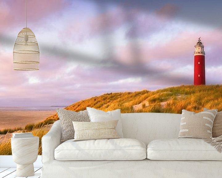 Sfeerimpressie behang: Zonsondergang vuurtoren Texel Panorama van Vincent Fennis
