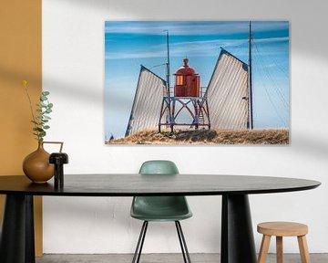 Tweemaster en de pier bij Stavoren in het zomerlicht van Harrie Muis