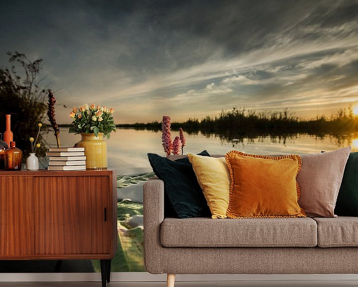 Sfeerimpressie behang: Waterplant van Johan Vet