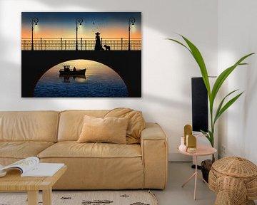 Romantische vergadering door de rivier in de zonsondergang van Monika Jüngling