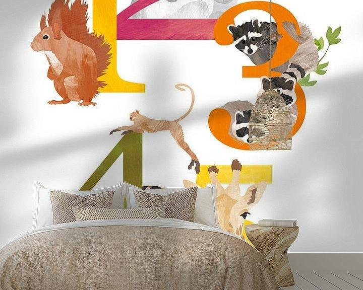 Sfeerimpressie behang: Educatieve cijferposter dieren van Karin van der Vegt
