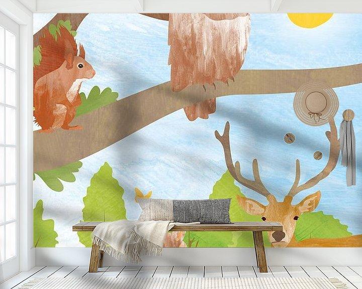 Sfeerimpressie behang: Dieren in het bos van Karin van der Vegt