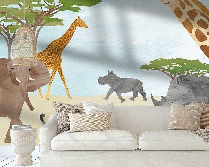 Sfeerimpressie behang: Wilde dieren in Afrika van Karin van der Vegt