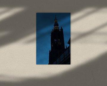 Silhouet Lieve vrouwe toren in Amersfoort von Lars van 't Hoog