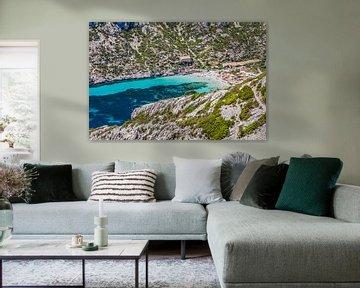Baai in de Calanques in de Provence, Frankrijk van Rosanne Langenberg