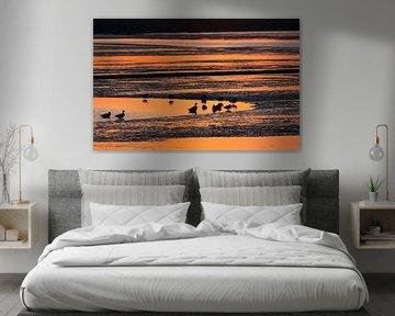 Watervogels bij zonsondergang van Jacques van der Neut