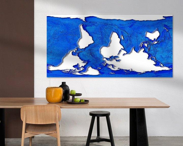 Sfeerimpressie: Wereldkaart, dolfijnprojectie van Frans Blok
