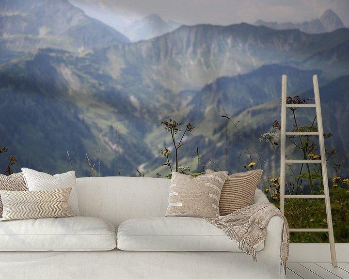 Sfeerimpressie behang: Alpine panorama with herbs van Erich Werner