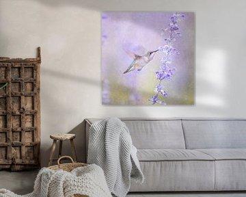 Colibri et fleur de lavande en violet pastel sur Diana van Tankeren