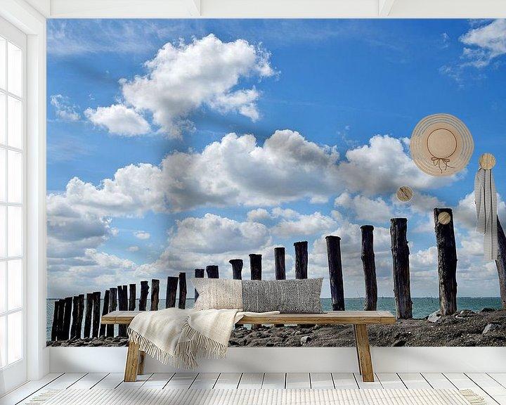 Sfeerimpressie behang: Paalhoofden aan de Oosterschelde van Zeeland op Foto