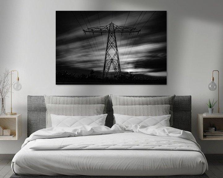 Sfeerimpressie: Elektriciteitsmast Lucht zwart/wit van Frank Slaghuis