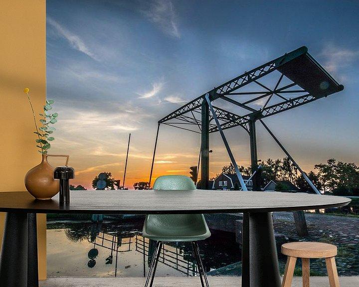 Sfeerimpressie behang: Ophaalbrug Heeten Overijssel van Frank Slaghuis